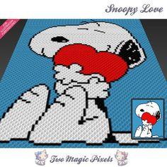 Snoopy Love crochet blanket pattern; c2c, | TwoMagicPixels