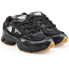 Adidas by Raf Simons Ozweego Bunny Sneakers ($330) ❤ liked on Polyvore featuring men's fashion, men's shoes, men's sneakers, black, adidas mens shoes, mens black sneakers, mens rubber shoes, adidas mens sneakers and mens black shoes