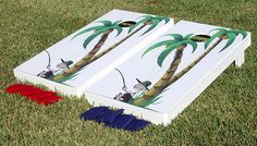Cornhole Boards -- Palm Trees with Guy Fishing by tailgatorz