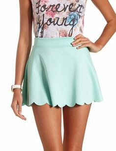 Scalloped High-Waisted Skater Skirt: Charlotte Russe