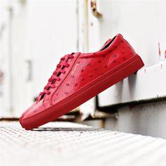 Axel Arigato red ostrich embossed leather sneaker, handmade in Portugal www.axelarigato.com #axelarigato