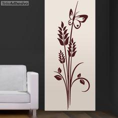 Vinilo floral espiga y mariposa