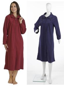 Ladies Slenderella Anti-Pill Fleece Zip Up Dressing Gown (Purple or Raspberry)