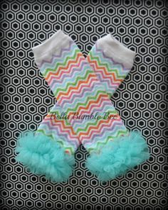Blue Chevron Leg Warmers Baby Outfit Leggings Pants with Tulle Ruffles, Baby Girl Chiffon Pants, Aqua Leggings, Baby Pants by Bellabumblebee from etsy