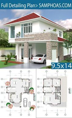 3 Bedrooms Modern Home Plan 9 5 X14 2m Samphoas Plansearch House Plans Mansion Beautiful House Plans Architectural House Plans