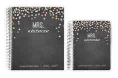 Teacher Planners - Chalk Colorful Confetti Custom Teacher Planner