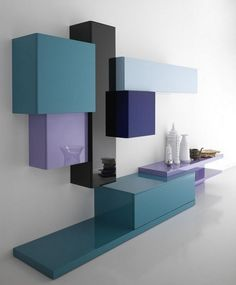 Tetris soggiorno moderno blu4 big Vivid Bookshelf Collection Displaying an Impeccable Design: Tetris