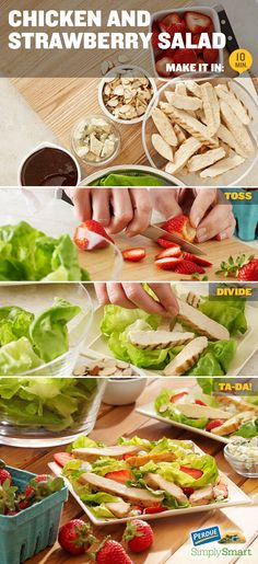 Chicken and Strawberry Salad / In a large bowl, toss lettuce with 4 tablespoons balsamic dressing. Evenly divide lettuce onto 4 plates. Top with sliced almonds, strawberries, chicken, and blue cheese. Drizzle salad with remaining 4 tablespoons of dressing and serve.