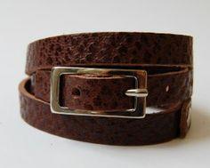 armband wikkel smal kroko bruin