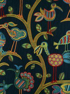 CRAZY OLD BIRD #bird-designs #black-gray-silver #multi-colored #various #woven-fabrics
