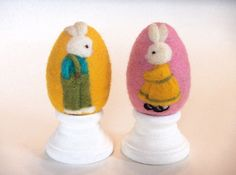 Felted Eggs  Boy & Girl Bunny Set  Needle Felted by theFeltasaurus, $35.00
