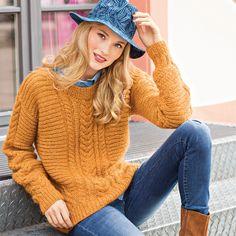 Джемпер с вертикальными «косами» и поперечной резинкой    Сочетание вертикальных «кос» и поперечной резинки просто великолепно выглядит в ярком оранжевом цвете.