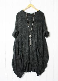 Moonshine Italy Tunika Kleid Oversize 52 54 56 Taschen Lagenlook Neu