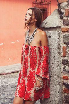 For Love & Lemons Red Precioso Dress