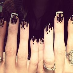 Chanel drip nails are gorge!! It's like approachable gothic!