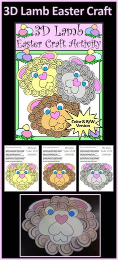 3D Lamb Easter & Spring Construction Craft Activity Packet Bundle:  This Easter arts and crafts activity packet is a fun way to create a three-dimensional lamb to decorate the classroom or home. All that is required are scissors and glue. Simply print, cut, and paste.  A black & white line art version is also included which is suitable for coloring with markers or crayons.   #Easter #Lamb #Craft #Activities #Teacherspayteachers