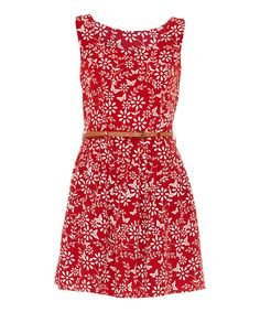 Another great find on #zulily! Red & White Floral Belted Dress by Iska London #zulilyfinds
