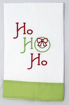 Christmas Kitchen Towel Ho Ho Ho Red & Lime by shopmemento on Etsy, $18.00