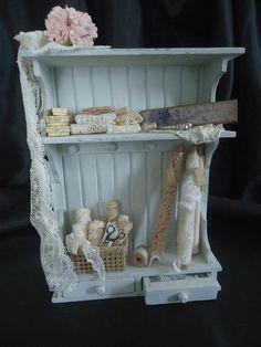 Shabby chic haberdashery cabinet 1/12th scale.