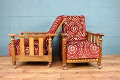 Pair of Arts and Crafts Oak Armchairs, new Linwood velvet upholstery (100472)