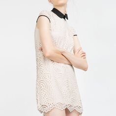 Zara Lace Dress This Zara dress is perfect balance of sweet and sassy. Made up of cream lace, with black Peter Pan collar, black trim at cap sleeves, and scallop hem line has a subtle a line that's easy for any occasion. Amazing condition, worn only once. Zara Dresses