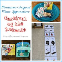 Montessori-Inspired Music Appreciation: Carnival of the Animals - Ideas for preparing and presenting activities to go with Carnival of the Animals. Don't know a lot about Montessori and music, but willing to look! Kindergarten Music, Preschool Music, Music Activities, Montessori Activities, Toddler Activities, Music Lesson Plans, Music Lessons, Carnival Of The Animals, Music Classroom