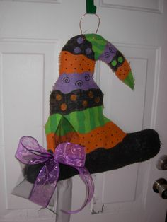 Burlap Halloween Door Hanger Whimsical Witches Hat by SASSYWreaths, $40.00