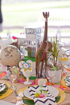 eclectic mix centerpiece- proving you don't need florals to create cool centerpieces!