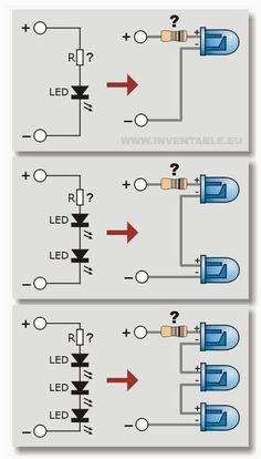Connection diagrams of leds in series Electrical Diagram, B … - Life and personal care Electronics Projects, Hobby Electronics, Electronic Circuit Projects, Electronics Components, Electronic Engineering, Engineering Technology, Computer Technology, Electrical Engineering, Electronics Gadgets