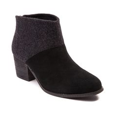 """Get ready for cooler weather style with the new Leila Ankle Boot from TOMS. The TOMS Leila Ankle Boot has you stylishly covered featuring luxurious suede uppers with a chic, woolen shaft, and chunky, stacked heel. Available only online at Journeys.com and SHIbyJourneys.com!    Features include   Soft suede upper with woolen textile shaft   Heel zipper with tassel detail provides easy slip-on and off   Synthetic stacked heel   Heel height approx. 2"""""""