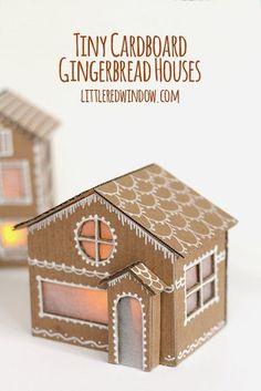 Illuminated DIY tiny cardboard gingerbread houses - adorable!