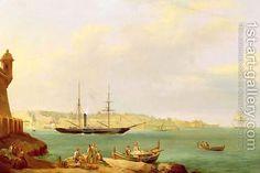 H.M.S. Vesuvius leaving Grand Harbour, Valletta, Malta by John or Giovanni Schranz