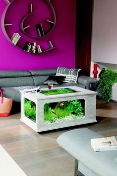 An aquarium is a pleasing method of displaying that you just love nature and that you have a must cope with it. A home aquarium is likely one of the Home Aquarium, Aquarium Design, Wall Aquarium, Aquarium Stand, Aquariums, Fish Tank Table, Design Your Home, House Design, Deco Studio