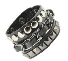 Wide Black PU Leather Metal Chain Layer Bracelet, Punk Bracelet, http://www.amazon.com/dp/B00AY5TD0O/ref=cm_sw_r_pi_awdm_x_nrpayb2SQB6S4