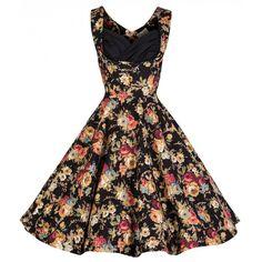 Ophelia Black Floral Dress   Vintage Inspired Fashion - Lindy Bop