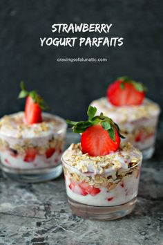 Strawberry Yogurt Parfaits from cravingsofalunatic.com- Snacking should be fun and easy. These yogurt parfaits are so simple to personalize to your own taste. These Strawberry Yogurt Parfaits are layered strawberry jam and fresh strawberries. (@CravingsLunatic) #sponsored