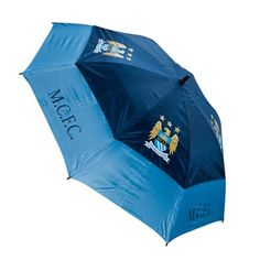 Manchester City F C - tourvent double-canopy umbrella - 60 canopy wind resistant - vented lower panels mean this umbrella will not turn inside out - Manchester City, Wind Resistant Umbrella, City Golf, Umbrellas For Sale, Umbrella Man, Premier League Teams, Girls Tees, Medium Bags, Print Logo