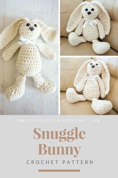 Crochet For Beginners Snuggle Bunny Crochet Pattern; Your kids or grandkids will love to cuddle up with this little guy. Crochet Bunny Pattern, Crochet Rabbit, Crochet Patterns Amigurumi, Crochet Dolls, Easter Crochet, Cute Crochet, Learn Crochet, Easy Crochet Projects, Knitting Projects