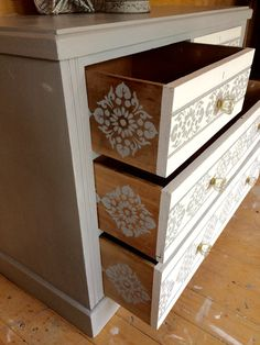 Artículos similares a Commissions Available in This Style, VINTAGE PINE CHEST Of Drawers, Dresser,Hand Painted in Annie Sloan Paris Grey Chalk Paint with Old Whit en Etsy Ahora vende-VINTAGE pino pecho de cajones aparador pintado Refurbished Furniture, Repurposed Furniture, Shabby Chic Furniture, Vintage Furniture, Diy Furniture Projects, Paint Furniture, Furniture Makeover, Paris Grey, Pine Chests