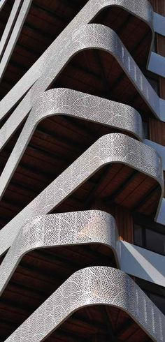 Parametric Architecture. Hatert Tower Building. Perforated metal balconies. Nijmegen,