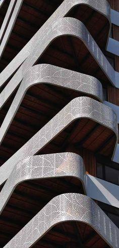 Parametric Architecture. Hatert Tower Building. Perforated metal balconies. Nijmegen,
