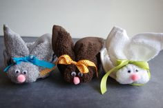 "I made washcloth bunnies like these many years ago for both my nieces and my kids. Ours were ""boo boo bunnies"" as an ice cube fits nicely in the little nest behind the head and made bumps and scrapes feel better."