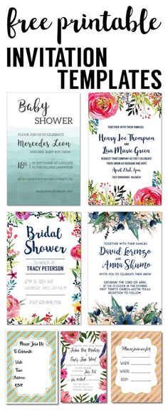 Party Invitation Templates Free Printables. DIY Free wedding invitation, bridal shower, baby shower, birthday party invitation. Easy to edit and personalize.