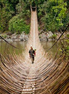 Cane Bridge In Village Of Kabua- Republic Of Congo