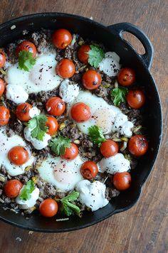 Ottolenghi's Braised Eggs with Lamb, Tahini, & Sumac #recipe from his Jerusalem cookbook.
