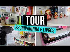 Tour pela minha Escrivaninha (home office) + Cenário do Canal + Estante de Livros!