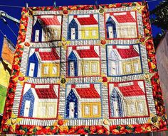 Handmade Patchwork Quilt Red Yellow Blue Hand Quilted Houses Lap/Throw Size