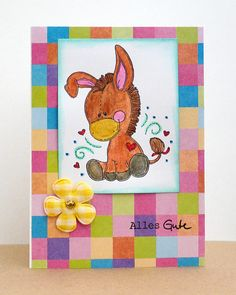 blog.karten-kunst.de - Süßer Esel. Meljen's Designs Sweet Little Donkey, Karten-Kunst Clear Stamp Kombi-Set Wünsche