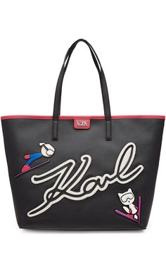 KARL LAGERFELD Tote with Patches. #karllagerfeld #bags #leather #hand bags #polyester #tote #