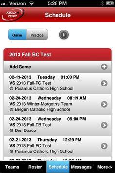 Field A Team Coach - Schedule